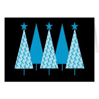 Christmas Trees Light Blue Ribbon Card