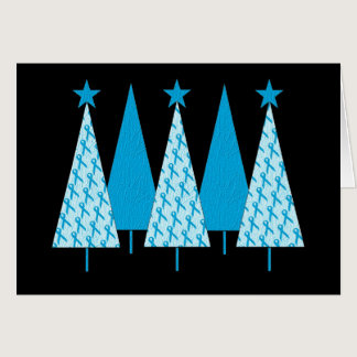 Christmas Trees Light Blue Ribbon Card