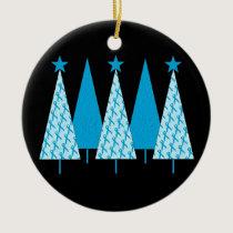 Christmas Trees - Light Blue Ribbon Ceramic Ornament