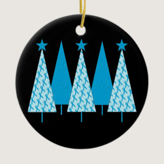 Christmas Trees - Light Blue Ribbon Ceramic Ornament