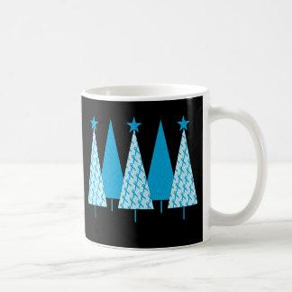 Christmas Trees Light Blue Ribbon Coffee Mug