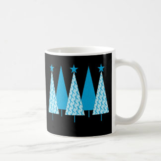 Christmas Trees Light Blue Ribbon Coffee Mug