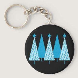Christmas Trees Light Blue Ribbon Keychain