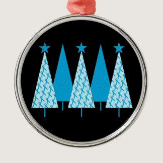 Christmas Trees - Light Blue Ribbon Metal Ornament