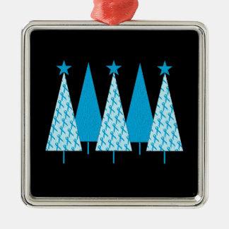 Christmas Trees - Light Blue Ribbon Ornament