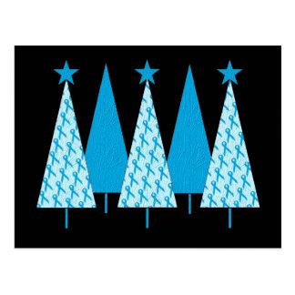 Christmas Trees Light Blue Ribbon Postcard