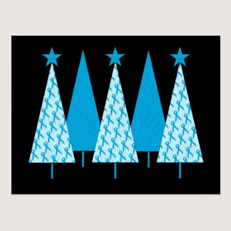 Christmas Trees Light Blue Ribbon Postcard