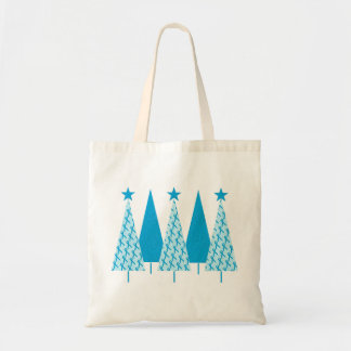 Christmas Trees Light Blue Ribbon Tote Bag