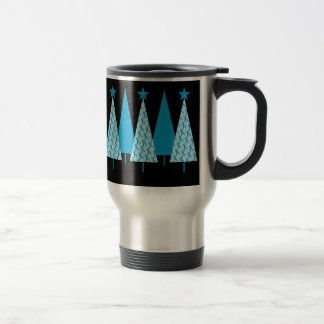 Christmas Trees Light Blue Ribbon Travel Mug
