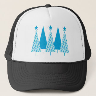 Christmas Trees Light Blue Ribbon Trucker Hat