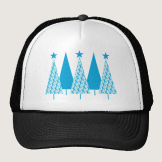 Christmas Trees Light Blue Ribbon Trucker Hat