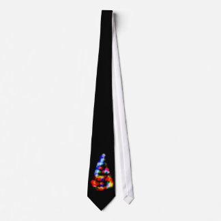 Christmas tree's lights trough the frosted window neck tie