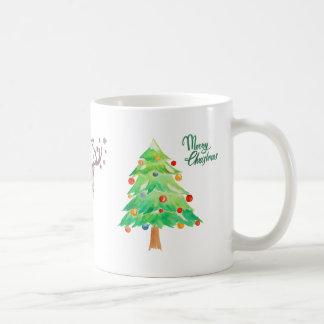 Christmas Trees Mug with Reindeer and snowflakes