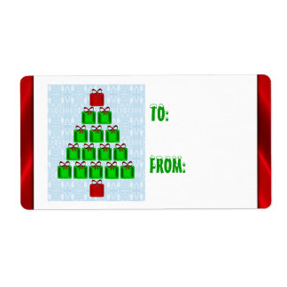 Christmas Trees Of Presents Gift Tags Labels