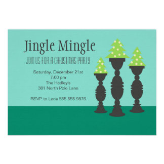 Christmas Trees on Candlesticks in Blue Custom Invitations