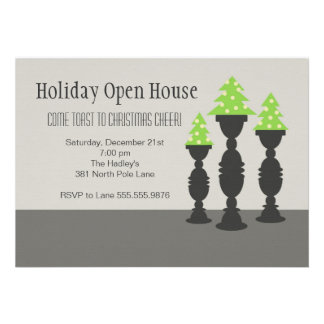 Christmas Trees on Candlesticks in Gray Custom Invitations
