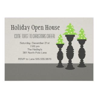 Christmas Trees on Candlesticks in Gray Custom Invitations