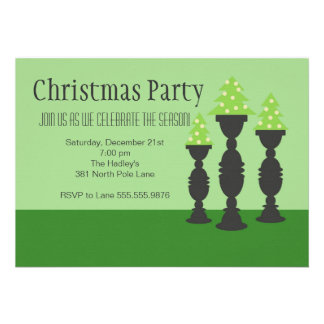 Christmas Trees on Candlesticks in Green Invites