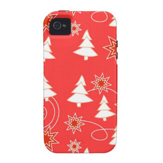 Christmas trees on red iPhone 4 cases