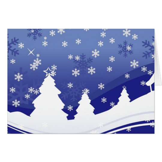 Christmas Trees on The Hillside With Snow Card