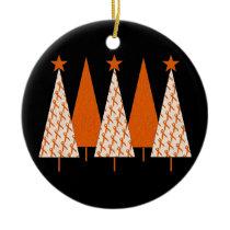 Christmas Trees - Orange Ribbon Ceramic Ornament