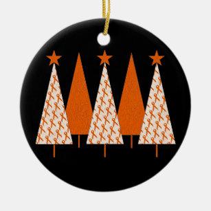 Orange Ribbon Christmas Embroidered Ornament KidneyLeukemia Cancer Angel
