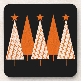 Christmas Trees - Orange Ribbon Coaster