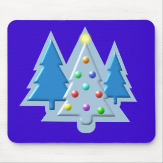 Christmas Trees Outlined with Lights Design Mouse Pad