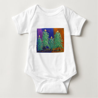 Christmas Trees Painting Baby Bodysuit