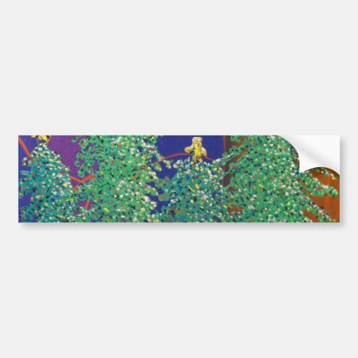 Christmas Trees Painting Car Bumper Sticker