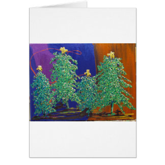 Christmas Trees Painting Card