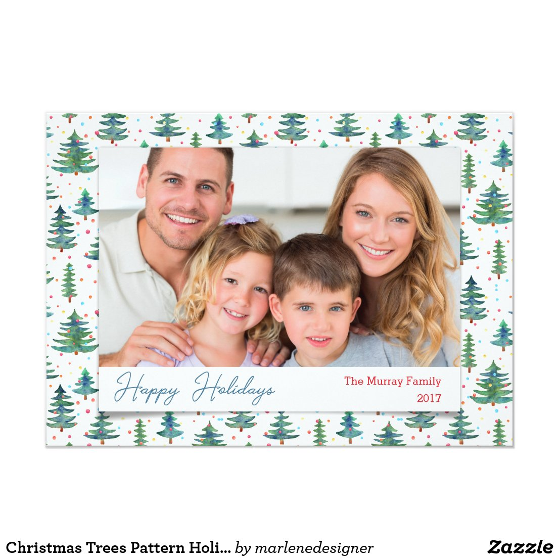 Christmas Trees Pattern Holiday Photo Card