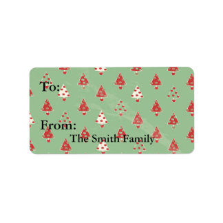 Christmas Trees Pattern Label