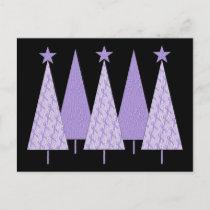 Christmas Trees - Periwinkle Ribbon Holiday Postcard