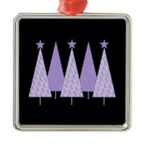 Christmas Trees - Periwinkle Ribbon Metal Ornament