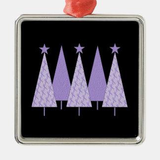 Christmas Trees - Periwinkle Ribbon Metal Ornament