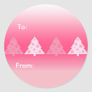 Christmas Trees Pink Gift Tags Stickers