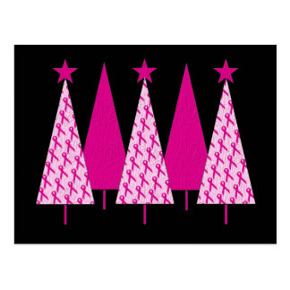 Christmas Trees - Pink Ribbon Breast Cancer Postcard
