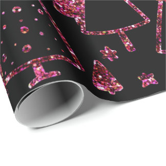 Christmas Trees Pink Rose Girly Spark Black Sequin Wrapping Paper