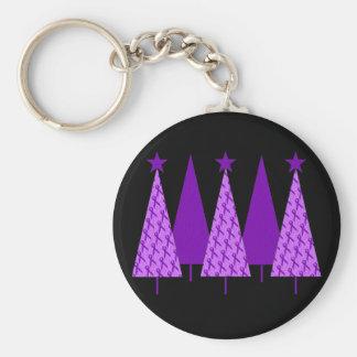 Christmas Trees - Purple Ribbon Alzheimers Basic Round Button Keychain