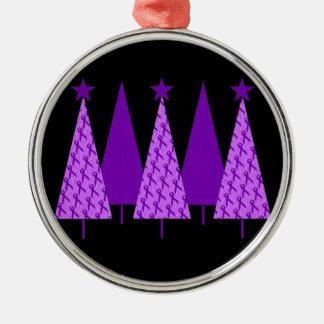 Christmas Trees - Purple Ribbon Alzheimers Christmas Ornament