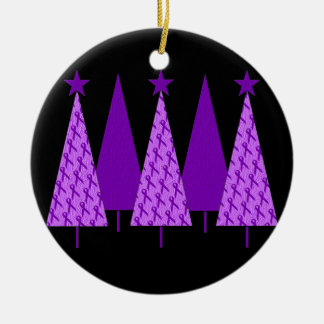 Christmas Trees - Purple Ribbon Alzheimers Double-Sided Ceramic Round Christmas Ornament