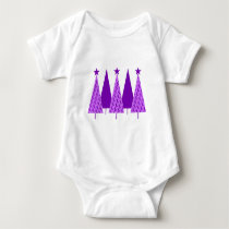 Christmas Trees - Purple Ribbon Crohns & Colitis Baby Bodysuit
