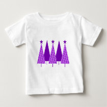 Christmas Trees - Purple Ribbon Crohns & Colitis Baby T-Shirt