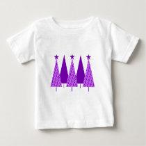 Christmas Trees - Purple Ribbon Crohns & Colitis Baby T-Shirt