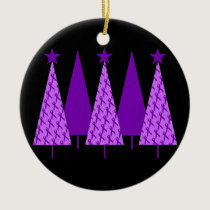 Christmas Trees - Purple Ribbon Crohns & Colitis Ceramic Ornament