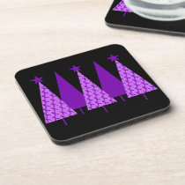 Christmas Trees - Purple Ribbon Crohns & Colitis Drink Coaster