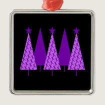 Christmas Trees - Purple Ribbon Crohns & Colitis Metal Ornament
