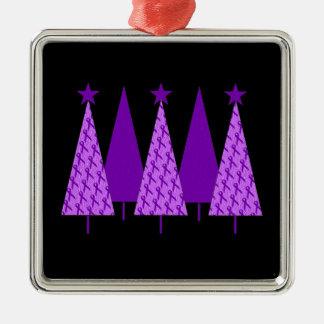 Christmas Trees - Purple Ribbon Crohns & Colitis Metal Ornament