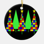 Christmas Trees - Puzzle Double-Sided Ceramic Round Christmas Ornament